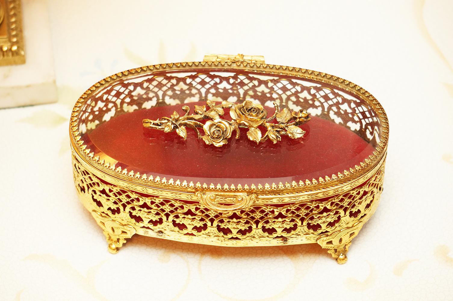 Sold:マトソン ゴールド ローズ オーバル形 ジュエリーボックス