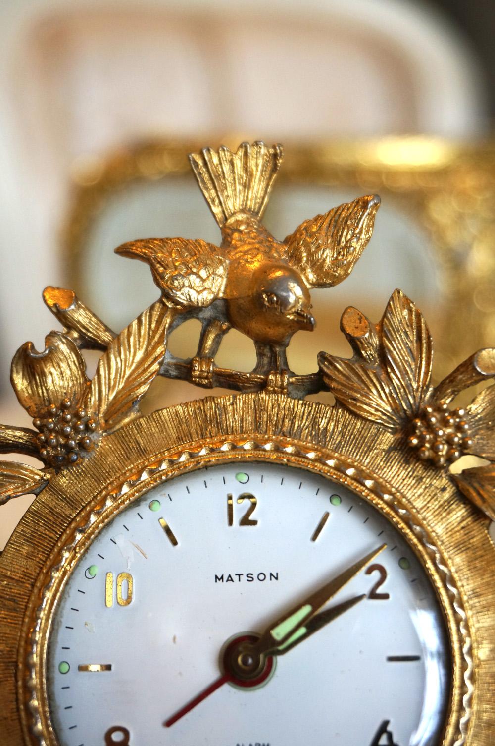 マトソン製 小鳥とハナミズキ 置き時計 拡大