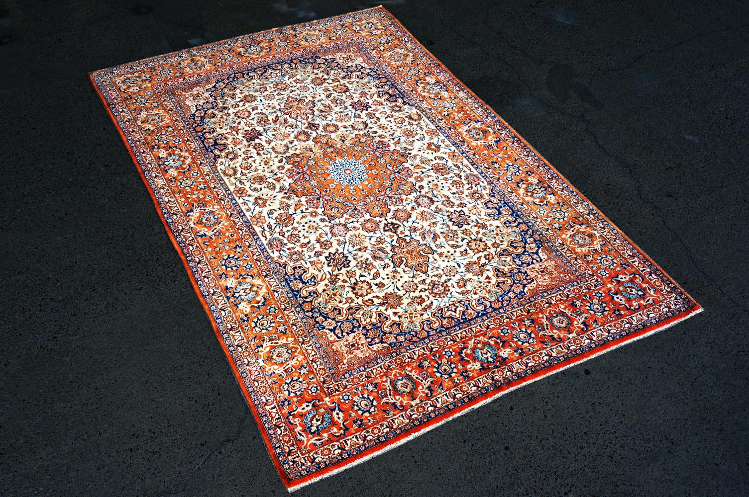 ペルシャ製 c1920 イスファハン 絨毯 横から