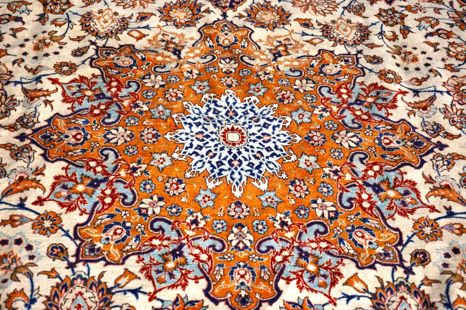 ペルシャ製 c1920 イスファハン 絨毯 中央部