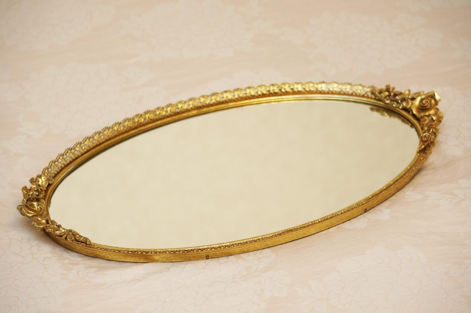 マトソン製 ゴールド ローズ オーバル バニティミラートレー