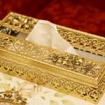 マトソン製 ゴールド 小鳥とハナミズキ ティッシュボックス