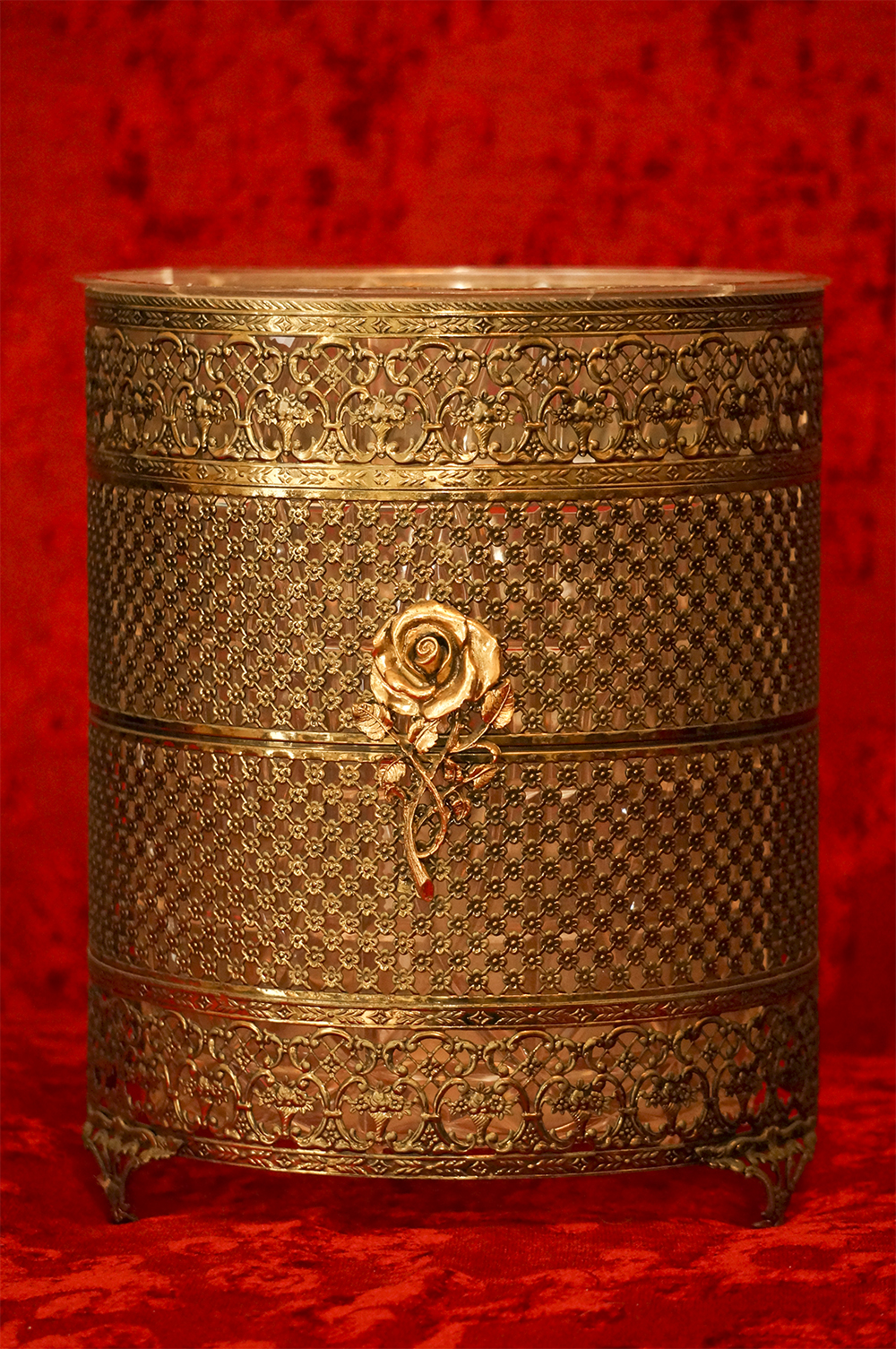 マトソン製 ゴールド ローズ ゴミ箱