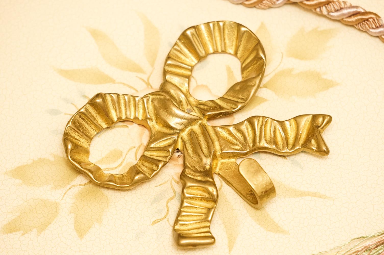 真鍮製 ゴールド リボン フック