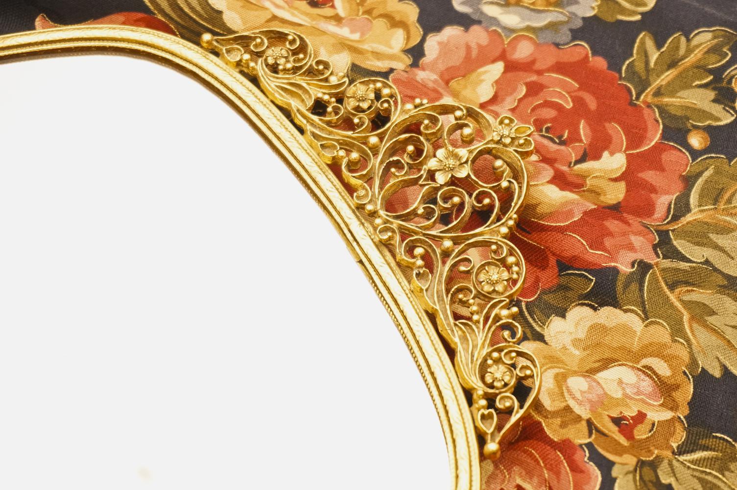 マトソン製 ゴールド フラワーハート バニティミラートレー 拡大