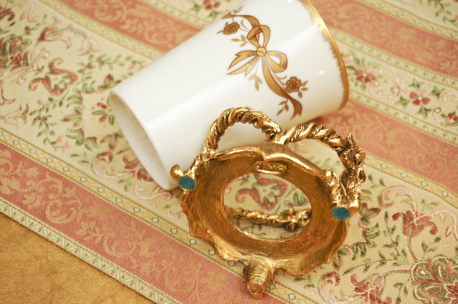 Sold: マトソン製 ゴールド ローズ タンブラーホルダー 裏側