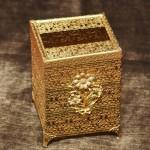Sold:マトソン製 ゴールド フラワーブーケ脚付き 正方形ティッシュボックス