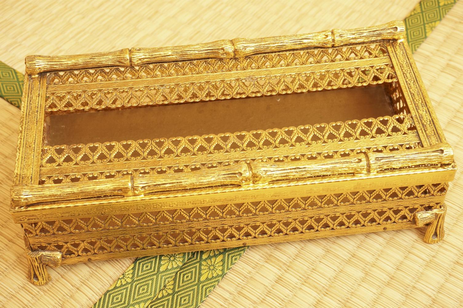 スタイルビルト製 ゴールド バンブー ティッシュボックス