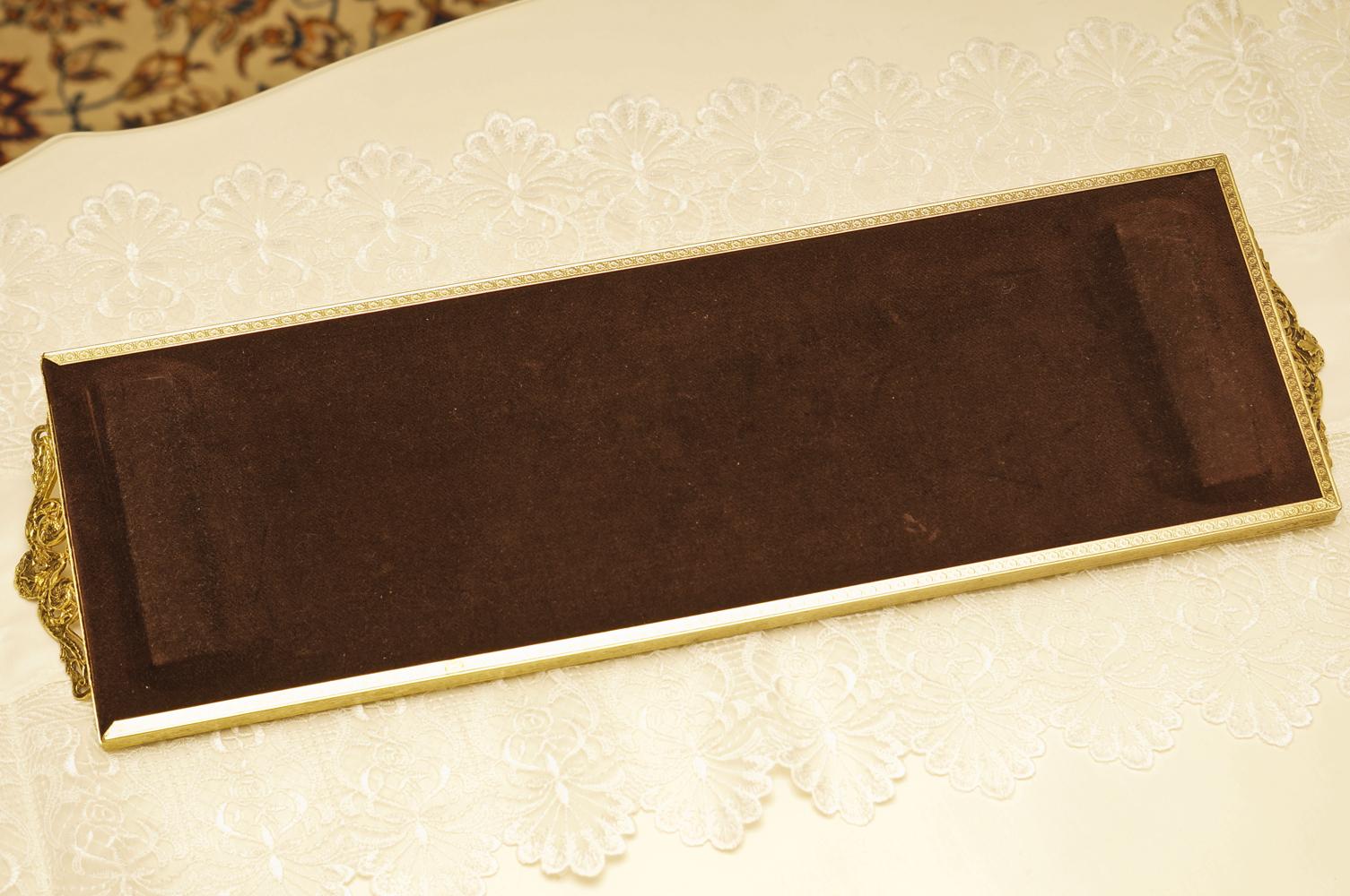 スタイルビルト製 ゴールド 長方形 バニティミラートレー 裏側