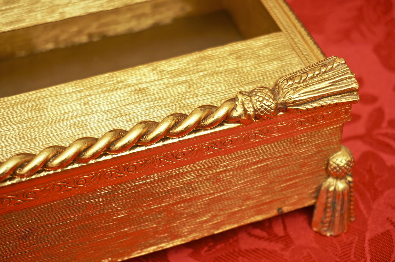 スタイルビルト製 ゴールド ロープ脚 ティッシュボックス 拡大