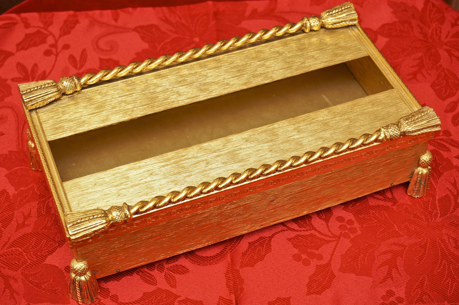 スタイルビルト製 ゴールド ロープ脚 ティッシュボックス