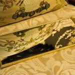 Sold:マトソン製 ゴールド 小鳥とハナミズキ 長方形 バニティミラートレー
