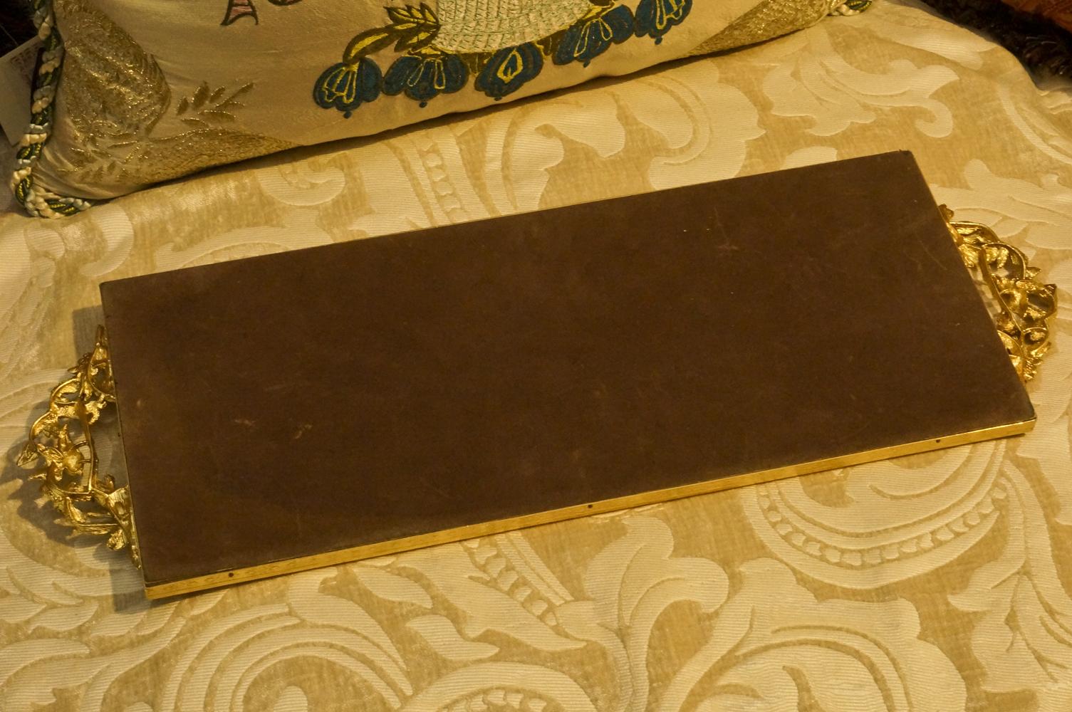 マトソン製 ゴールド 小鳥とハナミズキ 長方形 バニティミラートレー 裏側