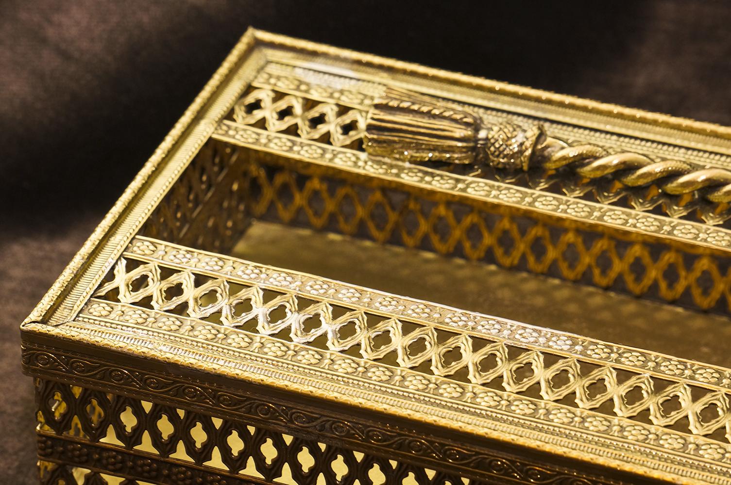 スタイルビルト製 ゴールド ロープ ティッシュボックス 拡大