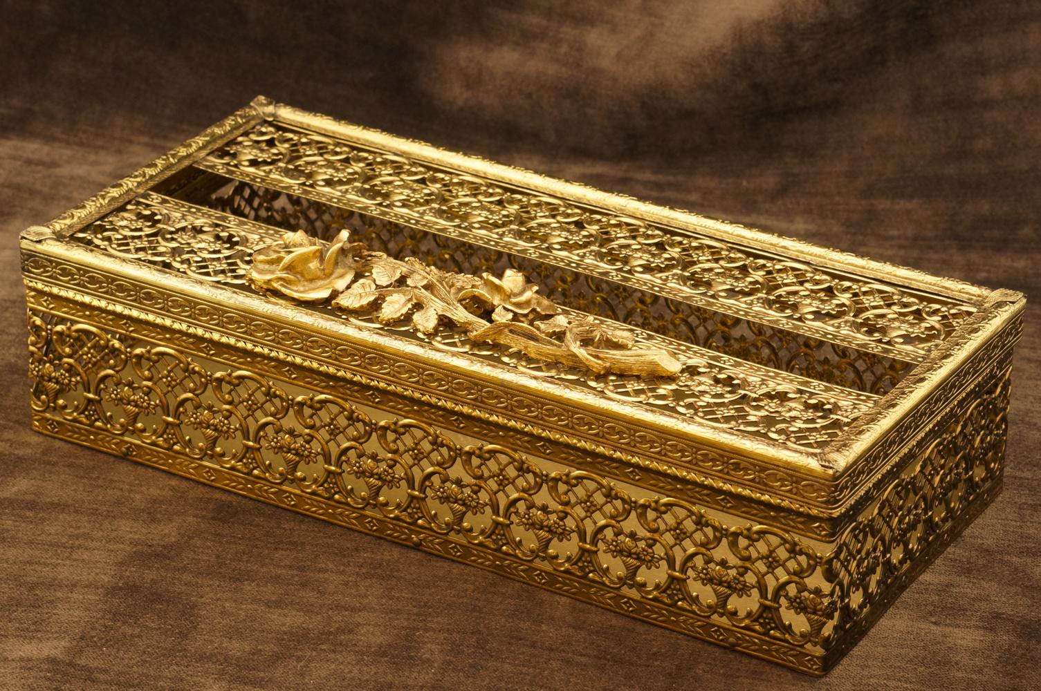 マトソン製 ゴールド ローズ ティッシュボックス