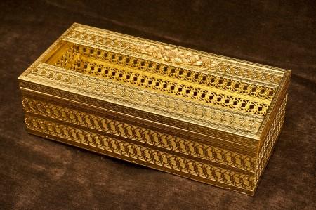 マトソン製 ゴールド 小花 ティッシュボックス