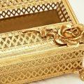 スタイルビルト製 ゴールド ローズ ダイヤモンド ティッシュボックス 拡大