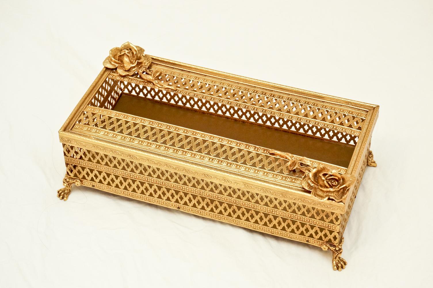 スタイルビルト製 ゴールド ローズ ダイヤモンド ティッシュボックス