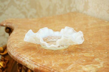 フェントン製 ホブネイル クリアミルクガラス プレート