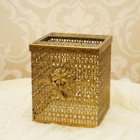 マトソン製 ゴールド デイジー 正方形ティッシュボックス