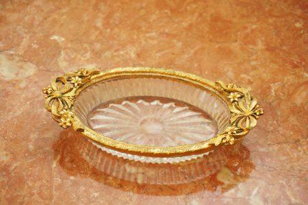 マトソン製 ゴールド ガラス リボンフラワー ソープディッシュ
