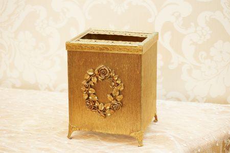 マトソン製 ゴールド ローズリース 正方形 ティッシュボックス