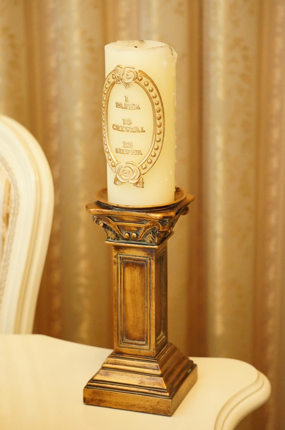 ゴールド アンティーク調 木製 キャンドルスタンド
