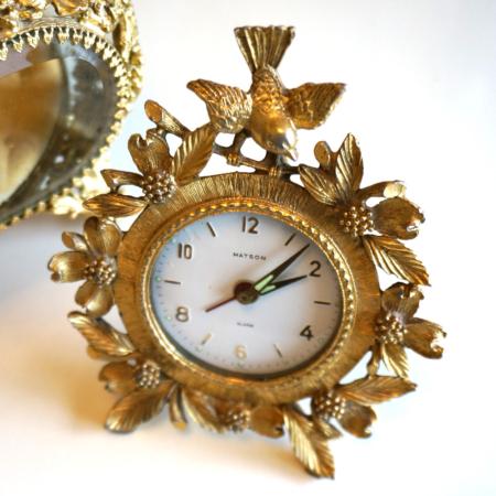 マトソン製 小鳥とハナミズキ 置き時計