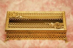 スタイルビルト製 ゴールド ローズ ティッシュボックス