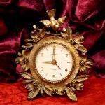 マトソン製 ゴールド 小鳥とハナミズキ 置き時計