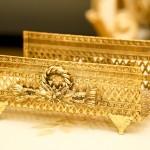 スタイルビルト製 ゴールド ロープとお花 タオルホルダー