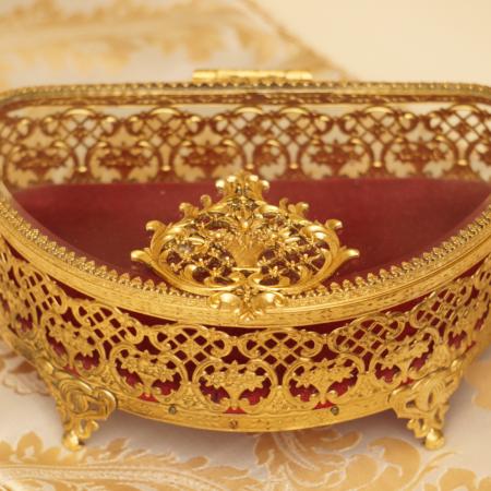 マトソン製 ゴールド フラワーブーケ ジュエリーボックス