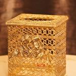 スタイルビルト製 ゴールド リボン 正方形ティッシュボックス