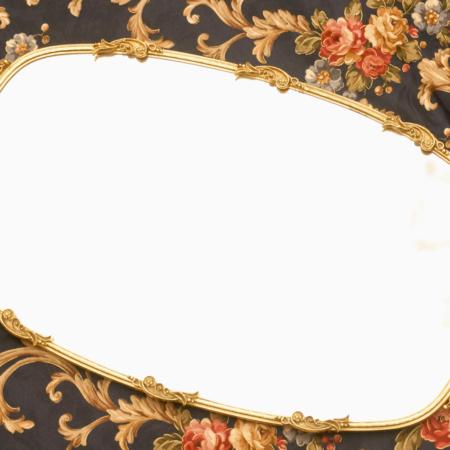 マトソン製 ゴールド フラワーハート バニティミラートレー