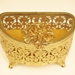 Sold:マトソン製 ゴールド ローズ 半円形 ジュエリーボックス