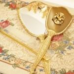 Sold: マトソン ゴールド 小鳥とハナミズキ バニティーセット