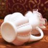 フェントン製 ピンク ミルクガラス 花瓶 裏側