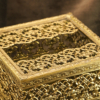 マトソン製 ゴールド 正方形 脚付き ティッシュボックス 拡大