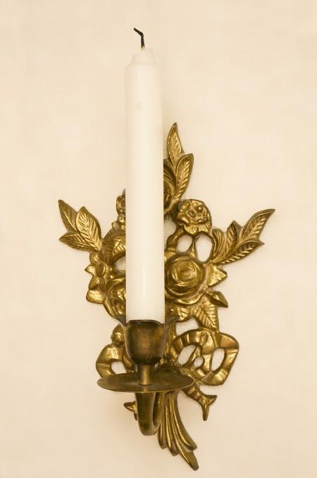 真鍮製 ローズ リボン ウォール キャンドルホルダー