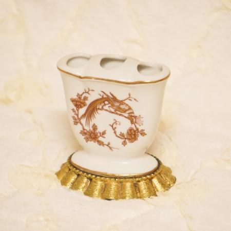 マトソン製 ゴールド 陶器 ピーコック 歯ブラシホルダー